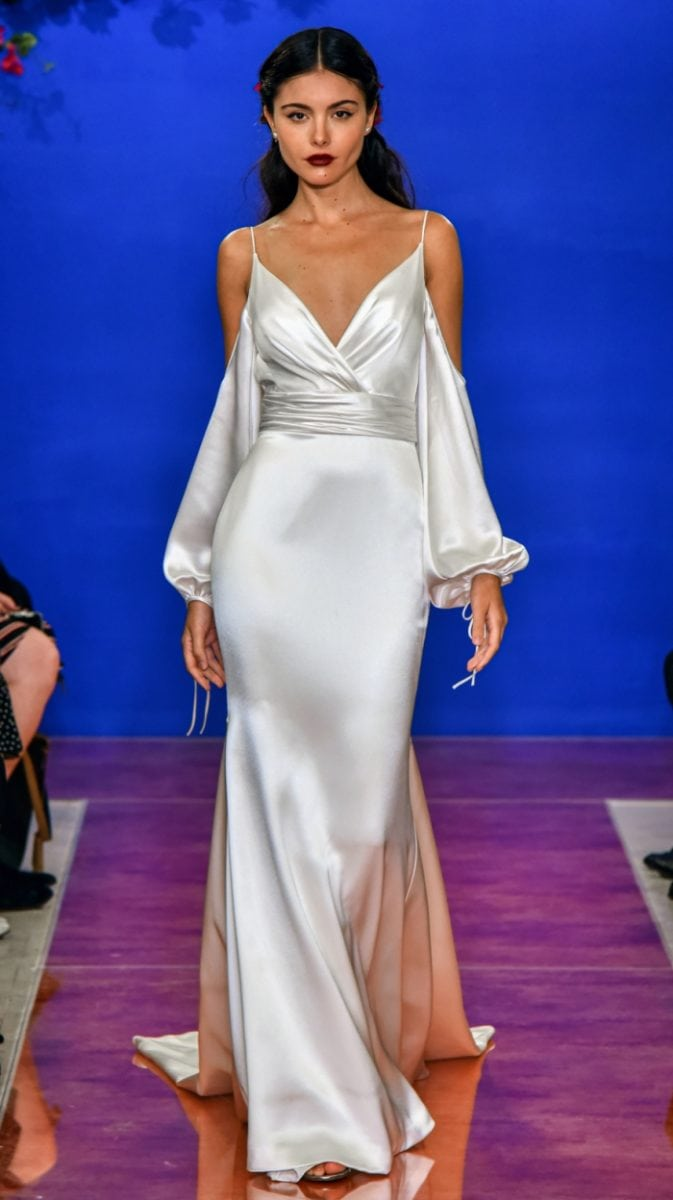 Satin cold shoulder wedding dress by Theia