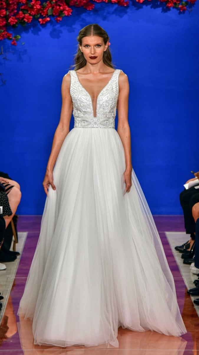 Plunge tulle ball gown wedding dress