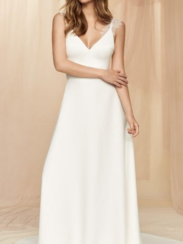 Simple bridal gown with lace straps by Savannah Miller