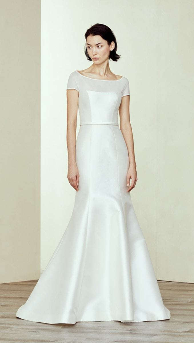 Short sleeve illusion neck bridal gown Denver