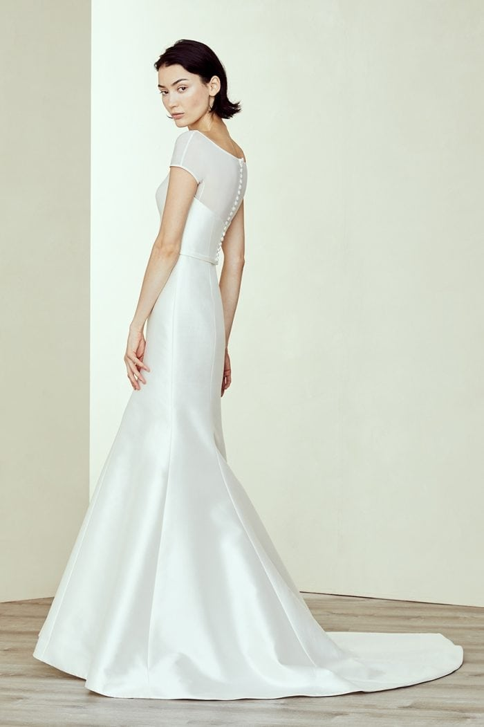 Short sleeve wedding dress with buttons up the back