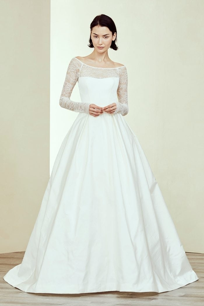 Long sleeve lace top wedding dress by Amsale