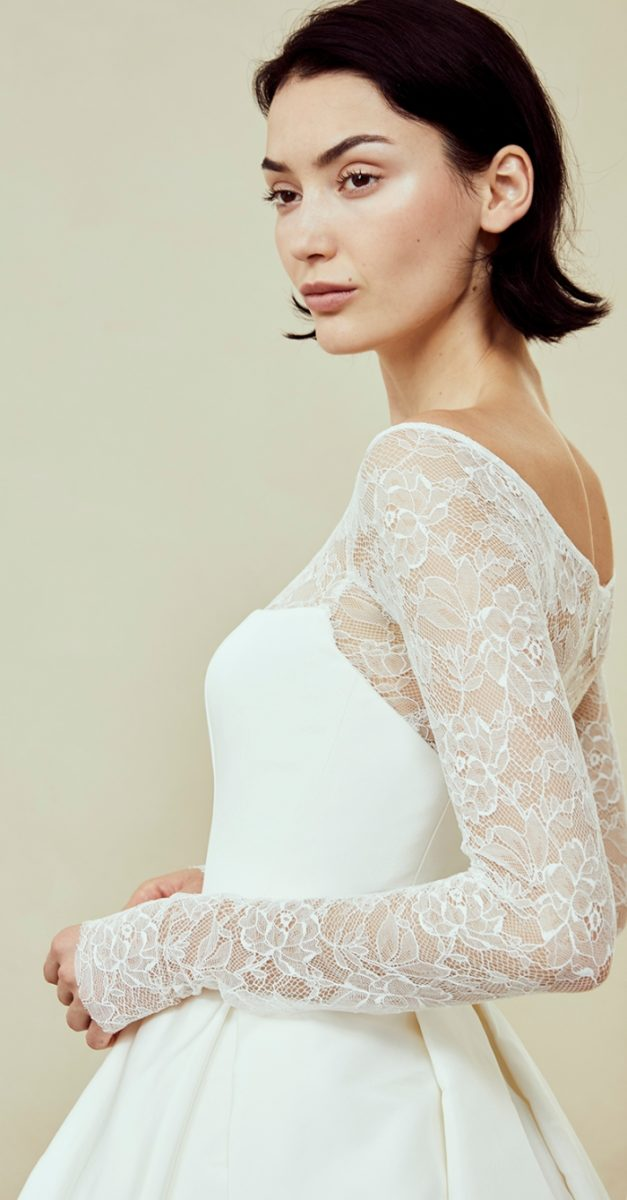 Long sleeve lace ball gown by Amsale