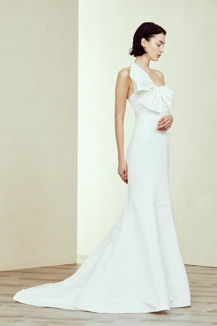 One shoulder bow wedding dress Emeline