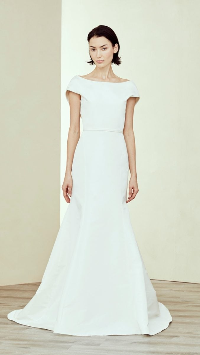 Modern short sleeve designer wedding dress