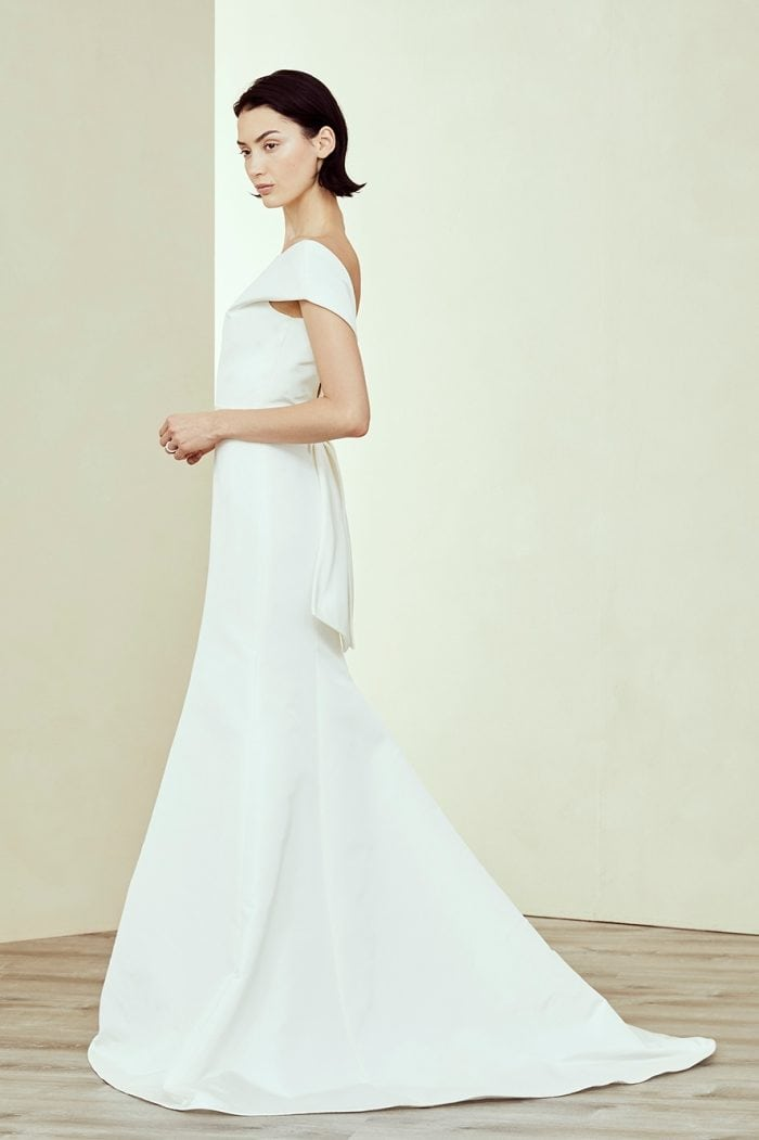 Silk off the shoulder bow back bridal gown
