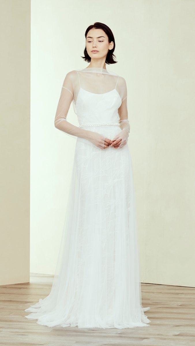 Karime a spaghetti strap simple wedding dress