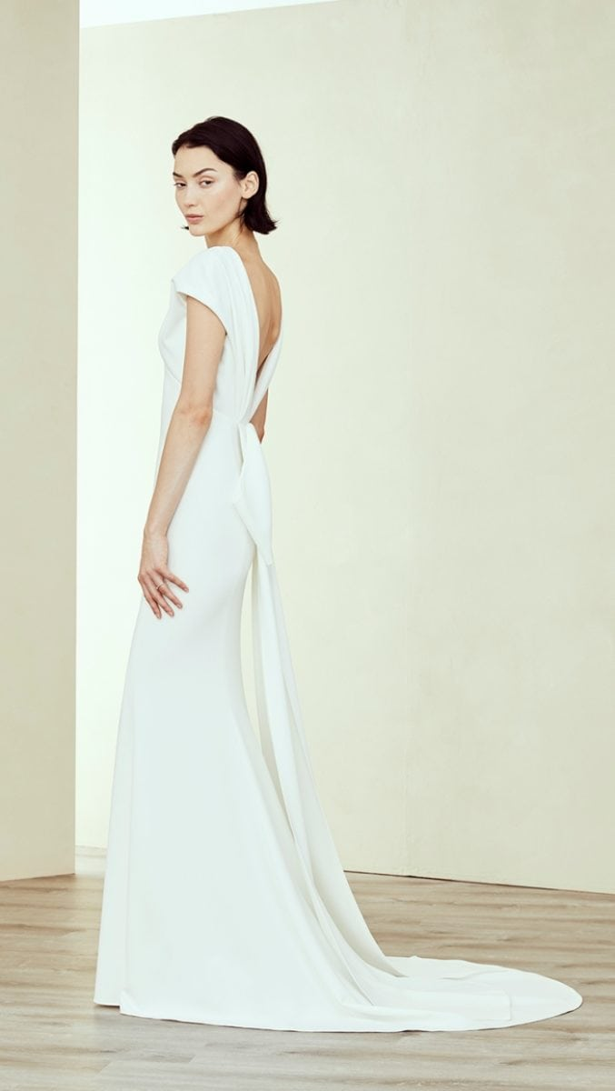 Short sleeve v neck wedding dress
