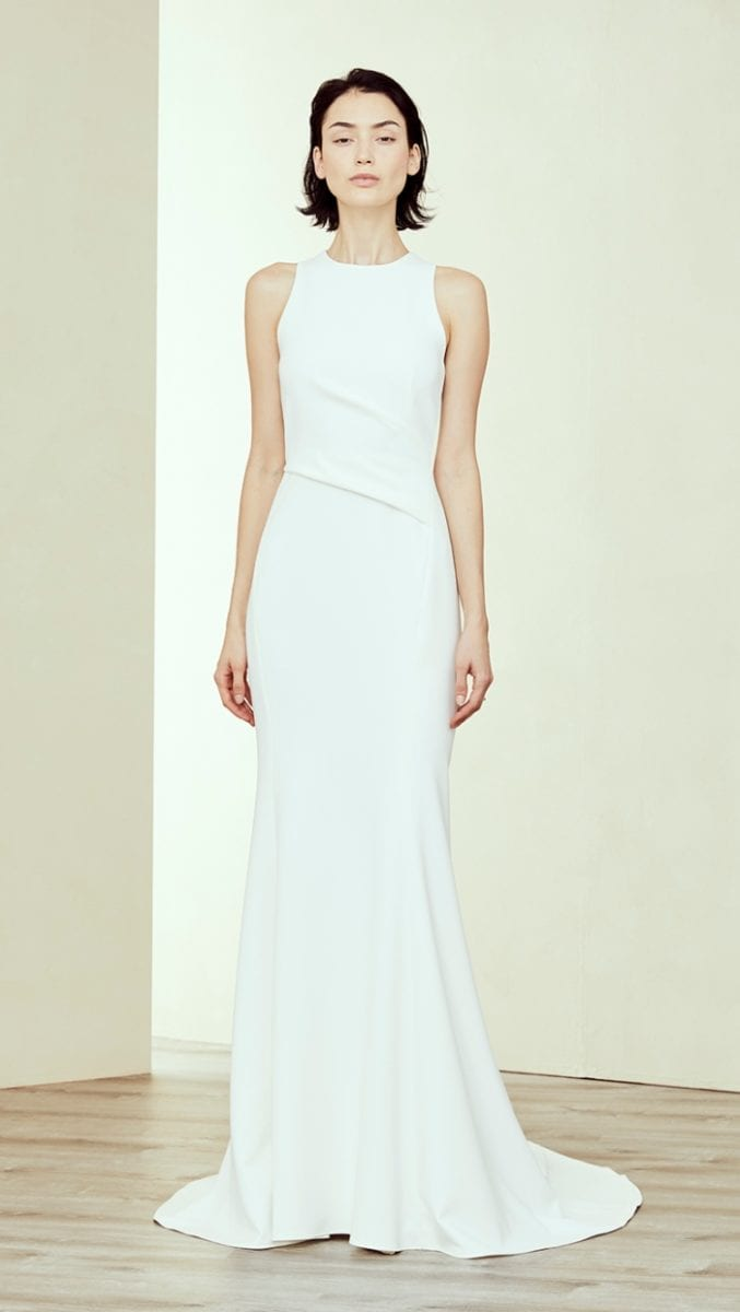 High neck sleeveless wedding dress