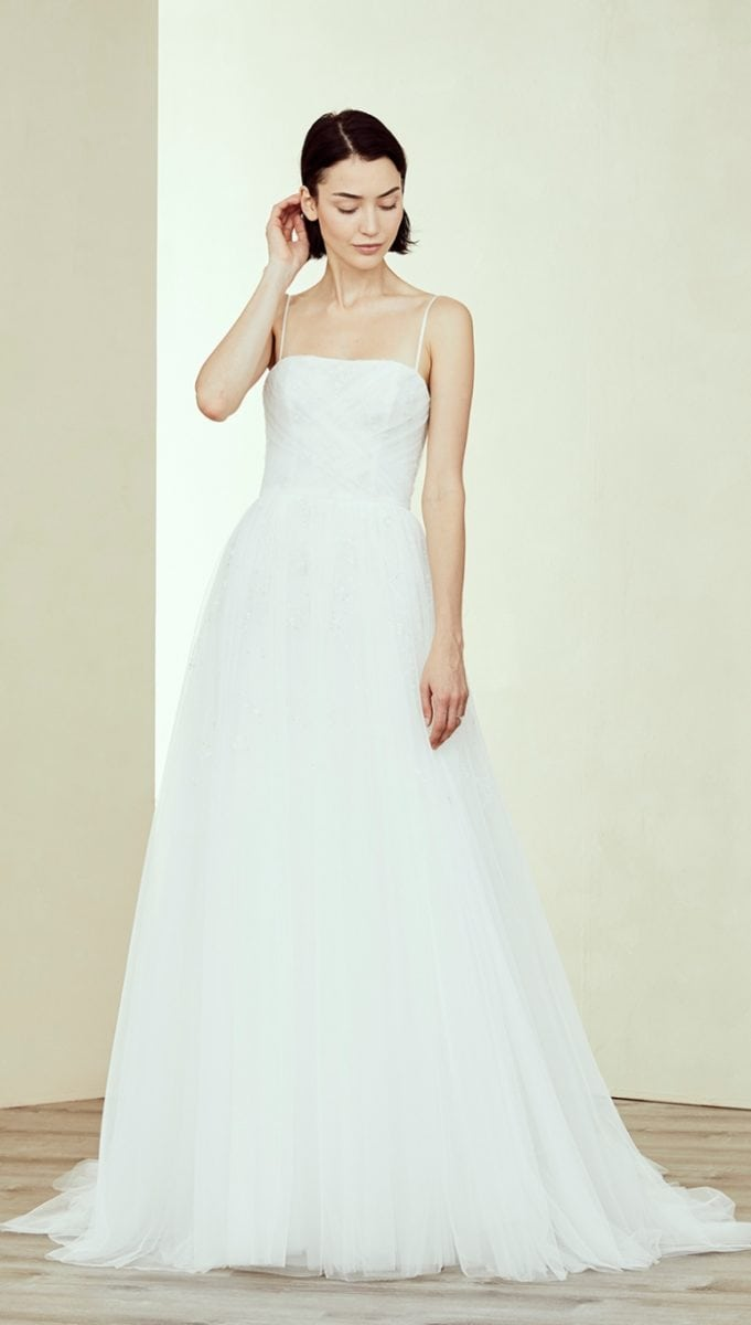 Tulle ball gown wedding dress with thin straps