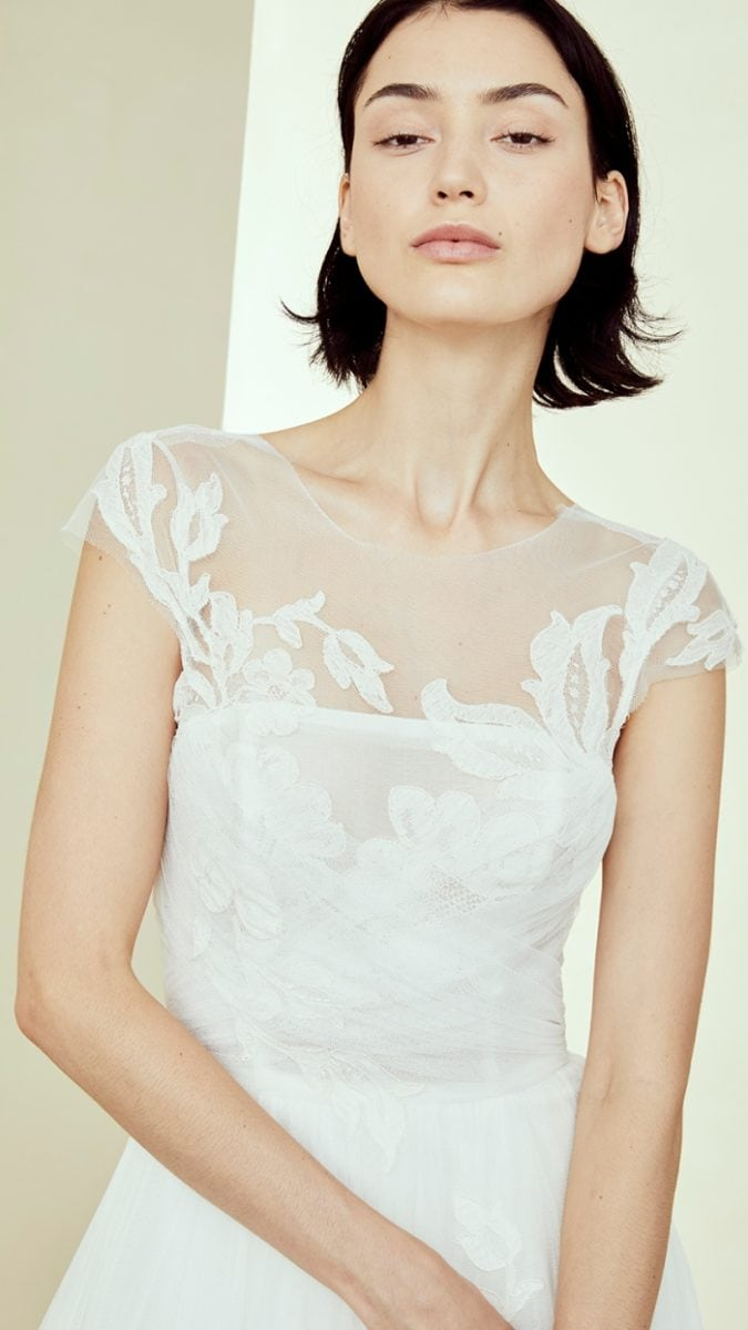 Cap sleeve wedding dress by Amsale