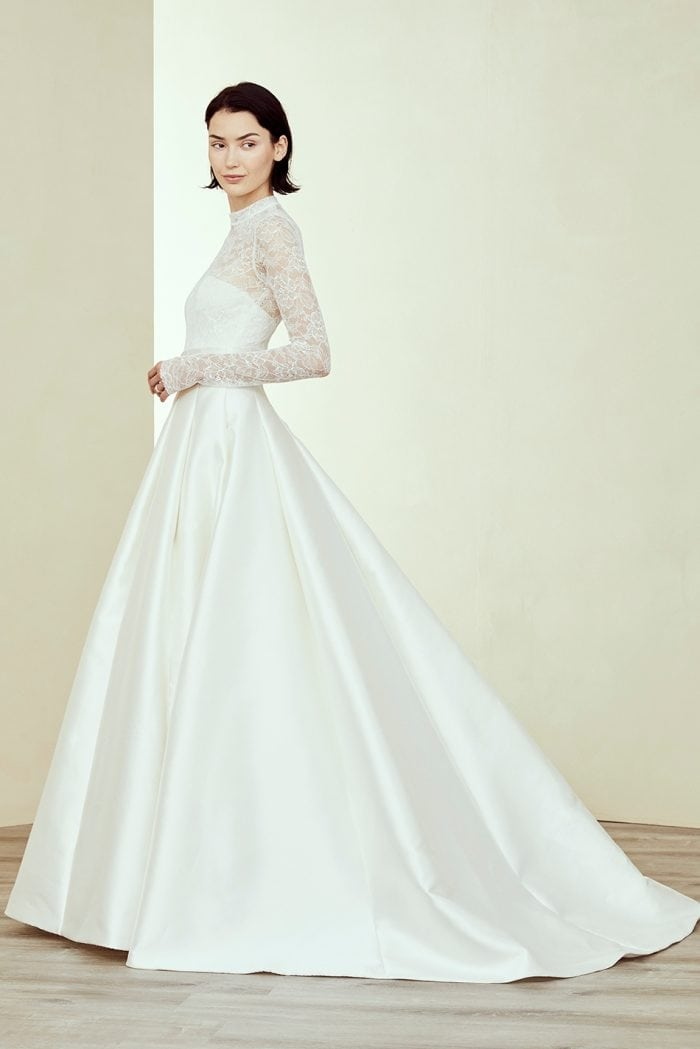 Ball gown wedding dress with Long sleeve sheer lace