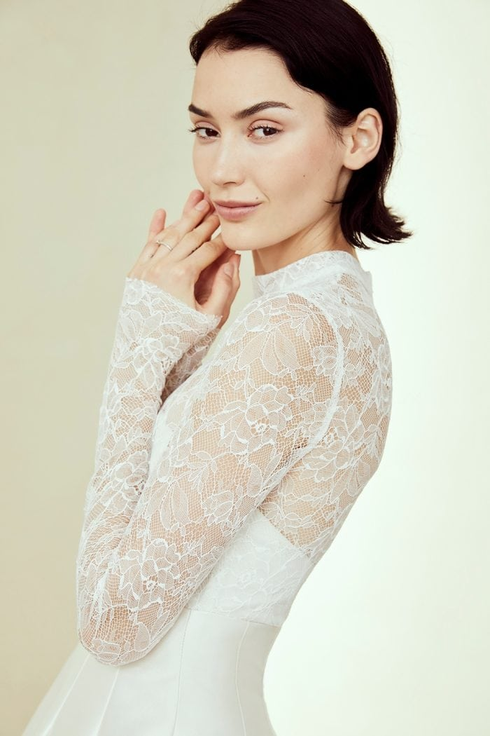Sheer lace top long sleeve ball gown
