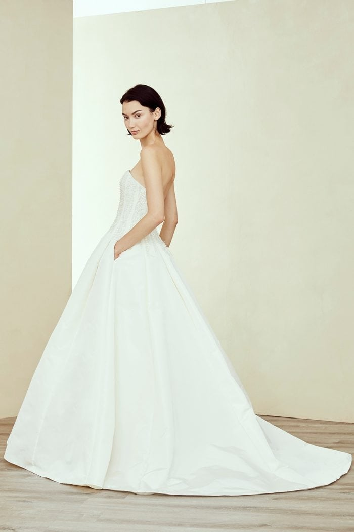 Beaded strapless ballgown wedding dress with pockets