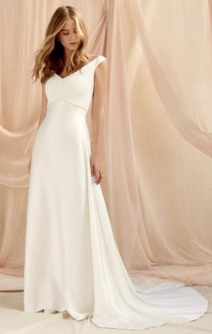 V neck cap sleeve simple wedding dress with train | Anouk by Savannah Miller