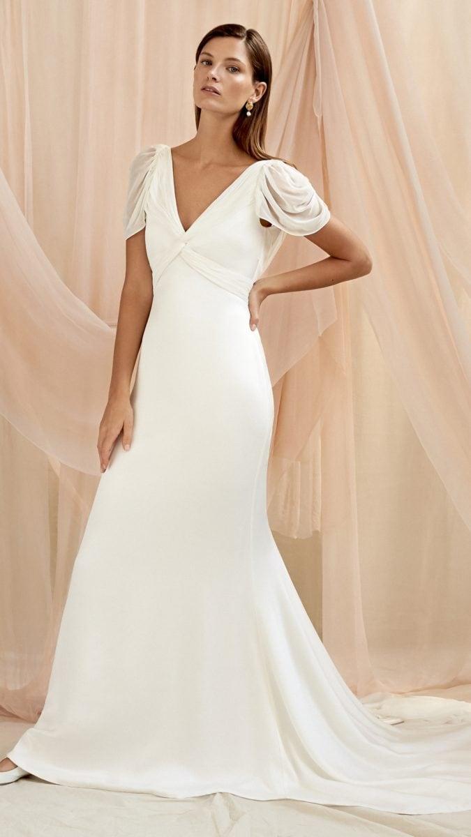 Camille Savannah Miller draped cap sleeve wedding dress