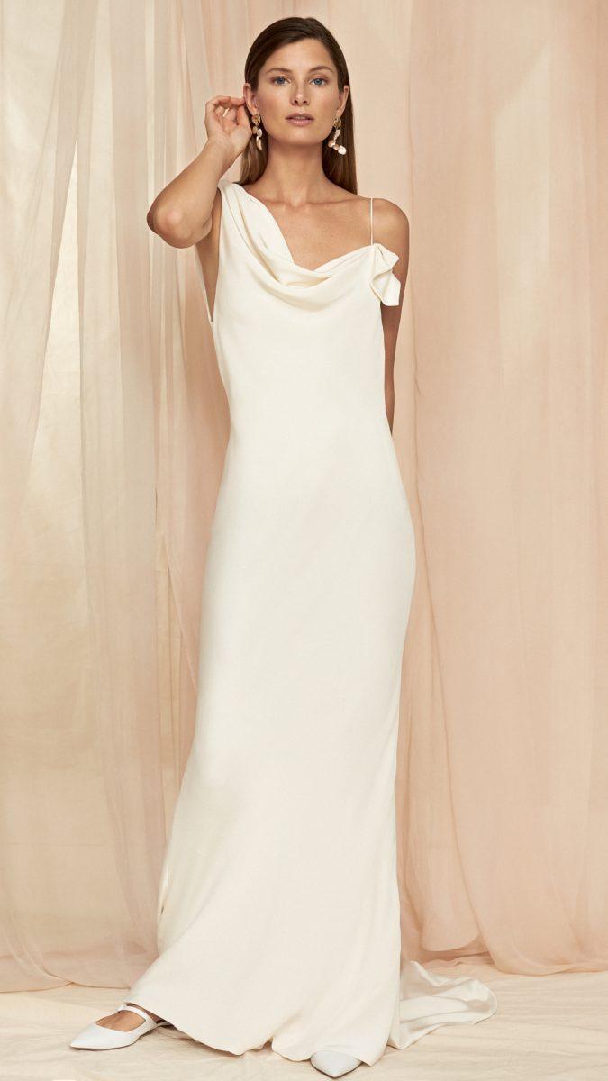 Colette Savannah Miller | Simple silk gown with asymmetric neckline