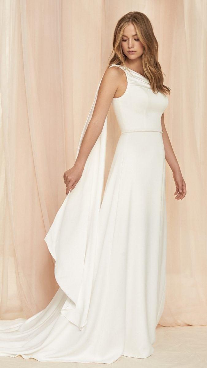 Daphne Savannah Miller | One Shoulder Wedding Dress with Sweep Train
