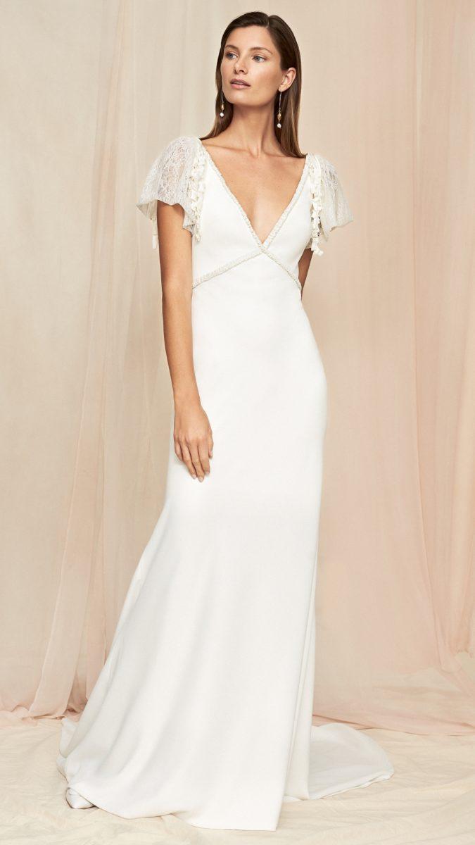 lace cap flutter sleeve wedding dress | Iris Savannah Miller