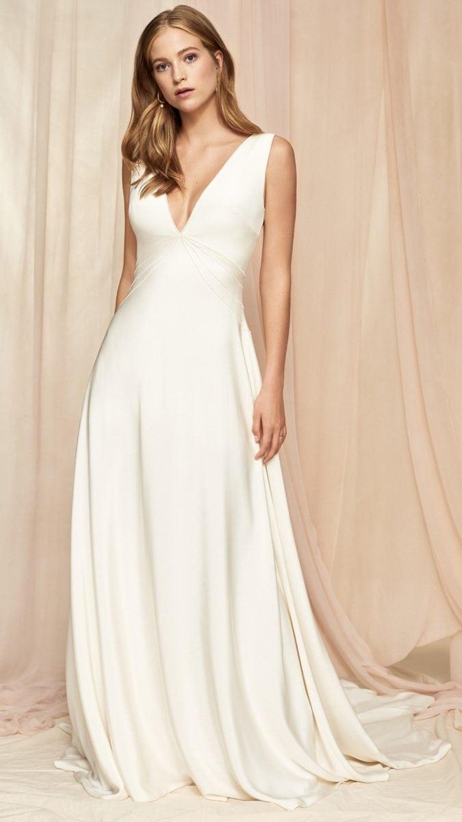 Silk V neck simple wedding dress | Lily by Savannah Miller