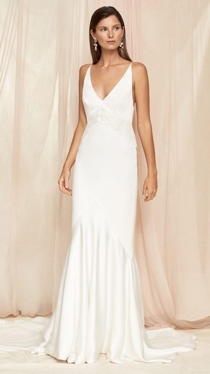 Spaghetti strap v neck wedding dress