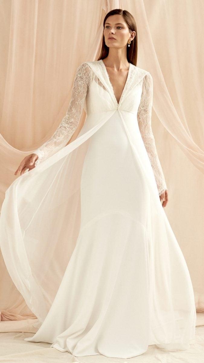 Lace sleeved long wedding jacket