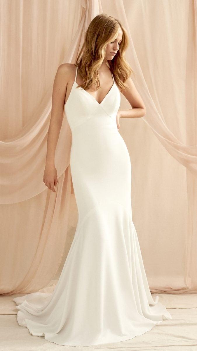 V neck wedding dress with thin straps | Talitha