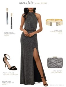 Black maxi dress for a wedding guest