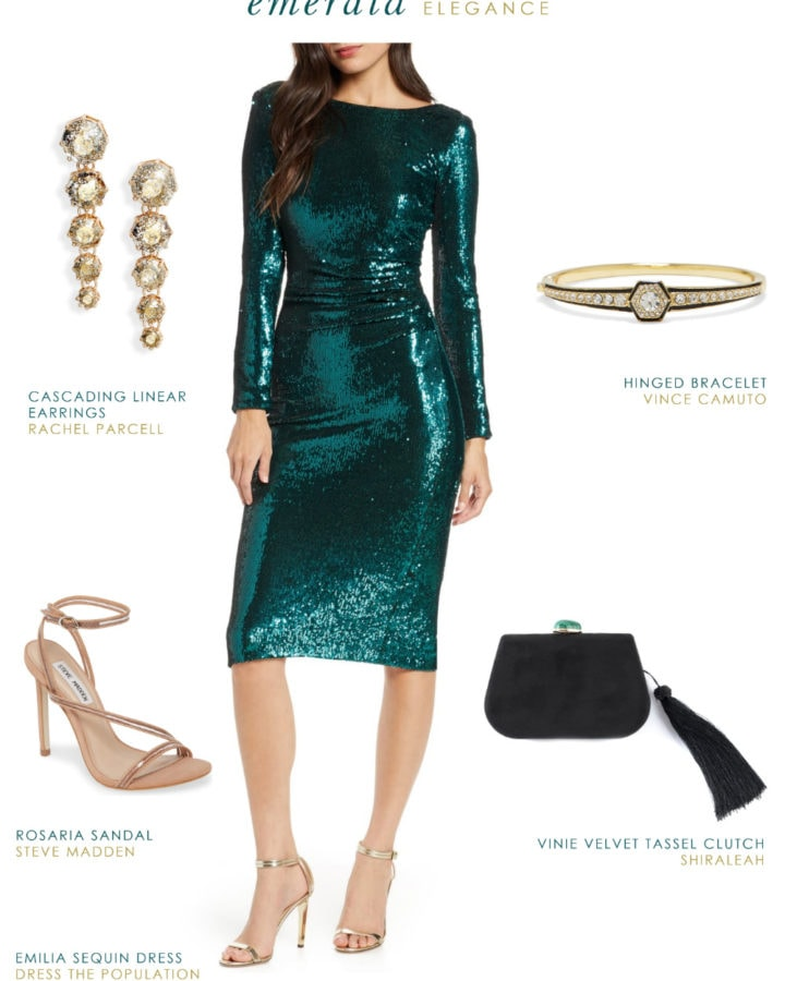 Green sequin dress for the holidays