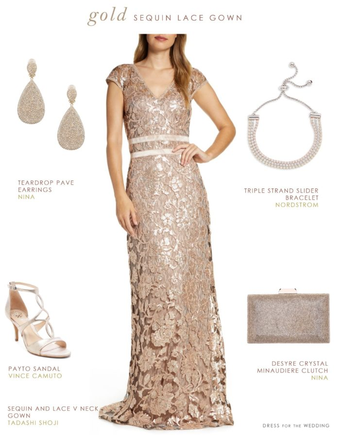 Gold Sequin and Lace Gown for Mother-of-the-Bride