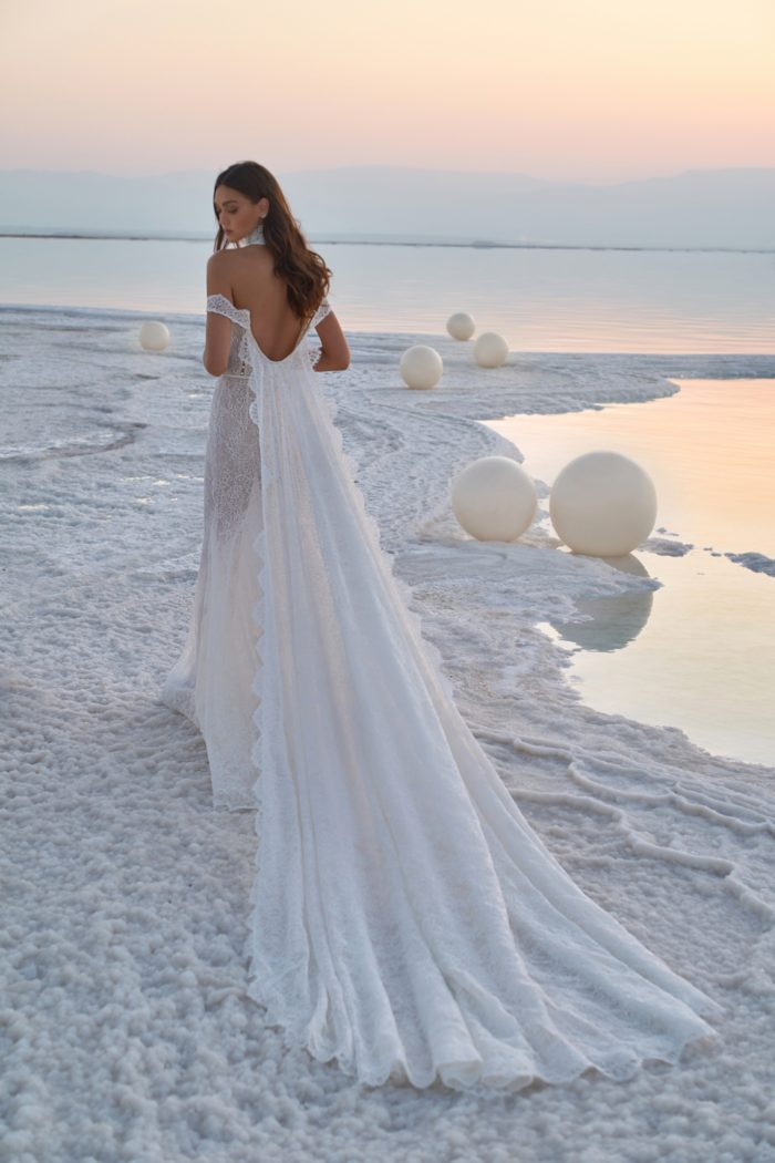 Cape train on Sunset bridal gown
