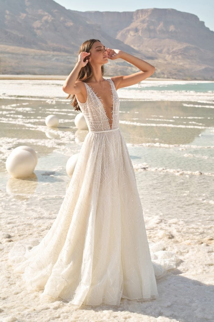 Silk tulle beaded ball gown with plunge neckline