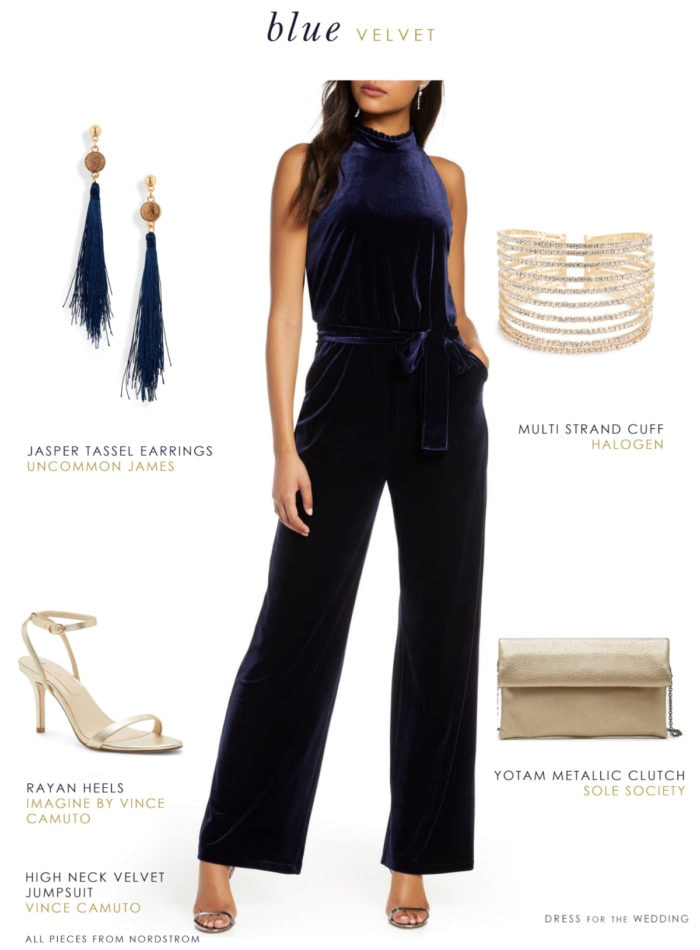Dark navy blue velvet jumpsuit