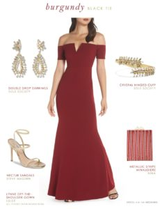 Burgundy off the shoulder evening gown under 100