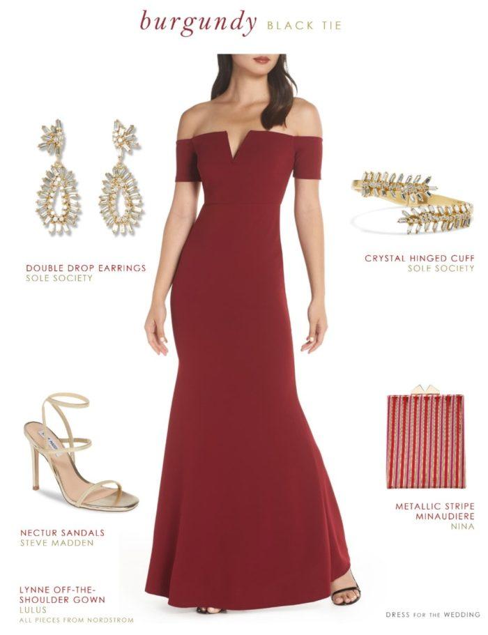 Burgundy off the shoulder evening gown under 100