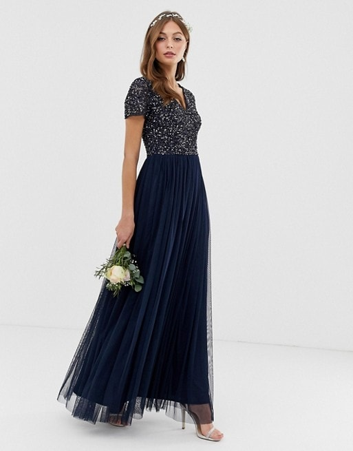 Navy blue short sleeve sequin bridesmaid dress under 150