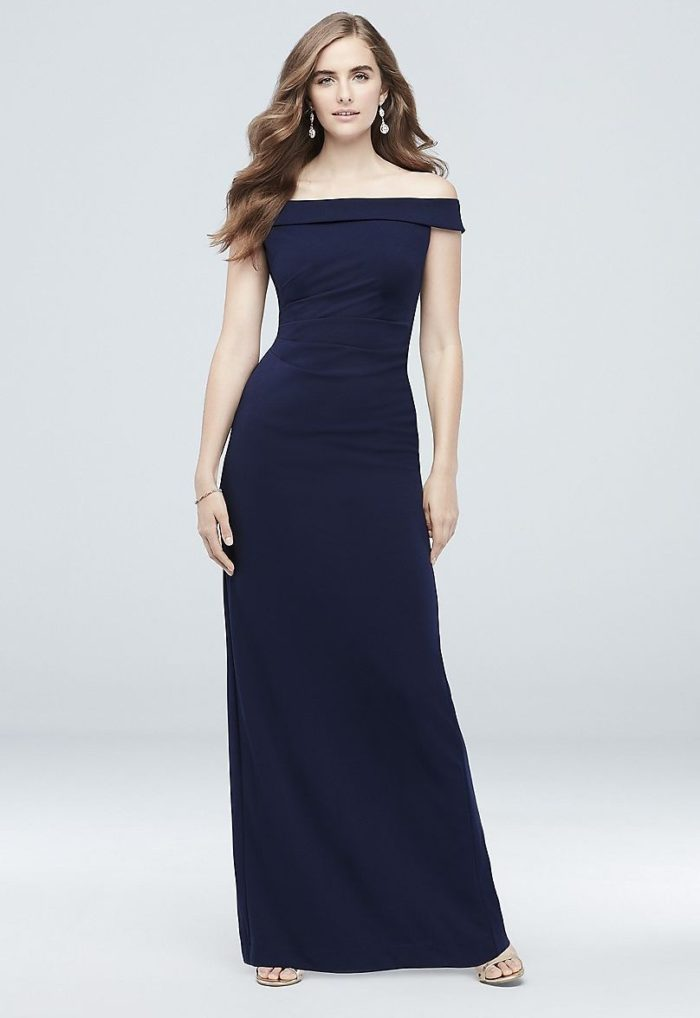 Navy blue off the shoulder bridesmaid dress