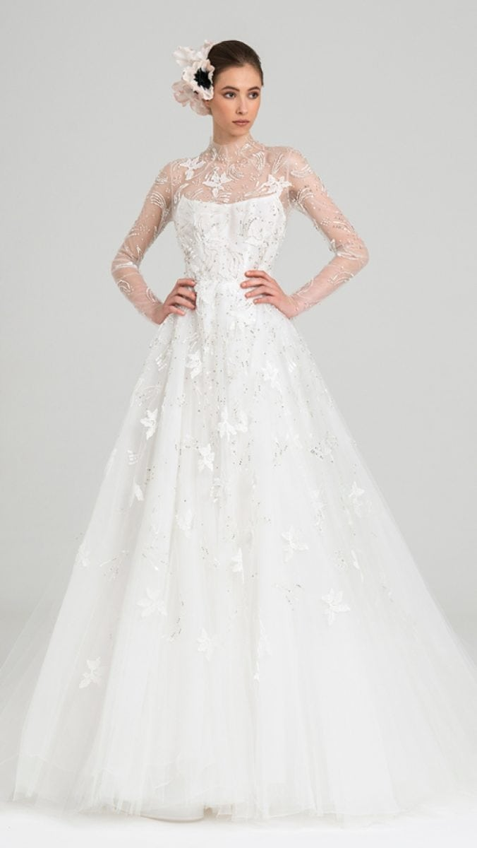 Agra Peter Langner Long sleeve sheer ballgown wedding dress