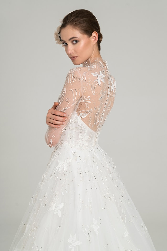 Sheer long sleeve bridal gown | Agra by Peter Langner