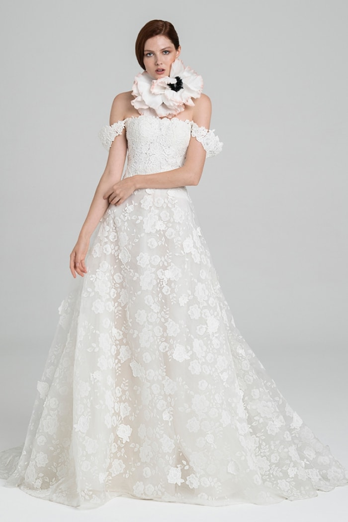 April Peter Langner off the shoulder floral lace bridal gown
