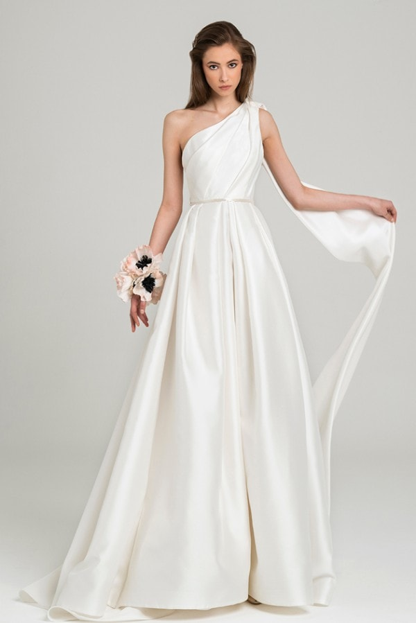 One shoulder silk bridal gown