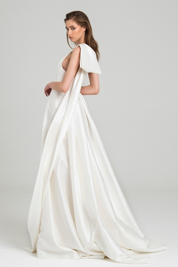One shoulder wedding dress with statement bow
