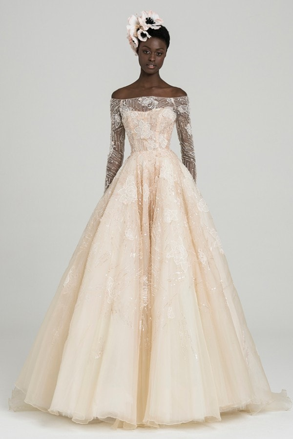 illusion blush off the shoulder tulle ballgown