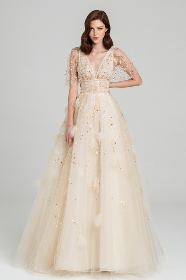 Ball gown with sheer embriodered sleeves