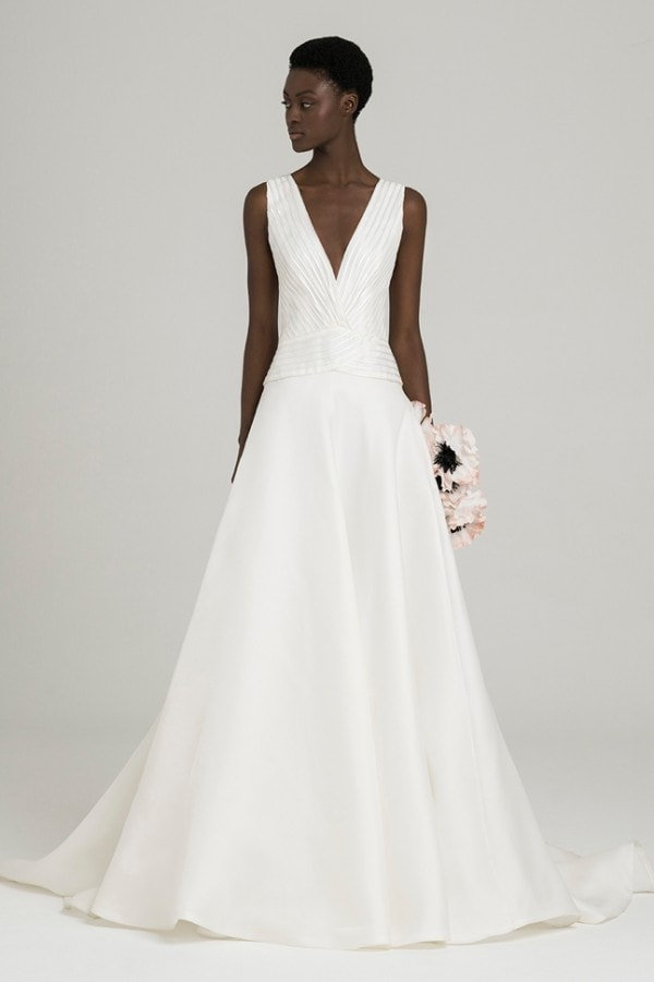 Pleated v neck bridal gown