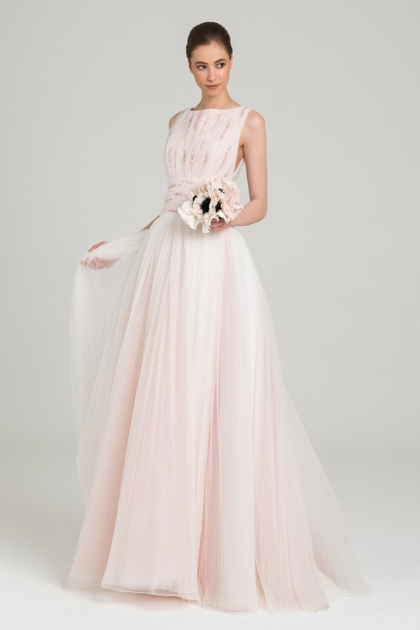 Blush pleated tulle bridal gown