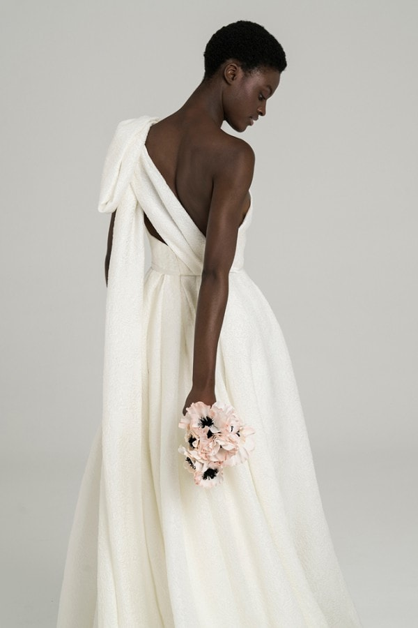 One shoulder Ball Gown with Bow June Gown Peter Langner