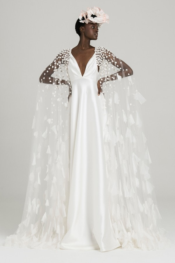 Peter Langner Cape Wedding Dress