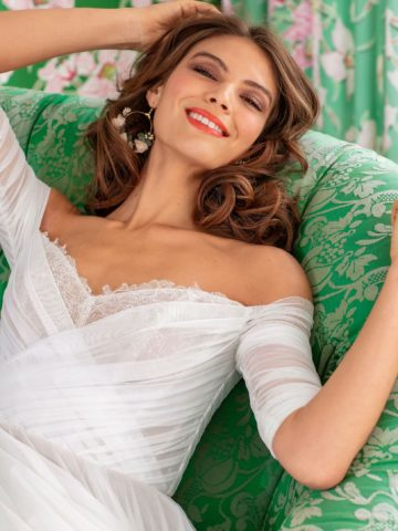 off the shoulder long sleeve bhldn wedding dress