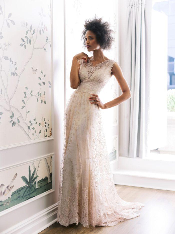 Embroidered boho wedding dresses Aurora Claire Pettibone